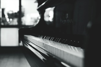 Black and white grand piano